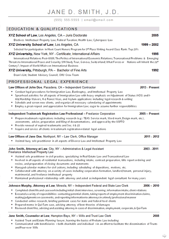 Sample Law School Resume Freelance Property Lawyer Resume Example  Resume Examples And