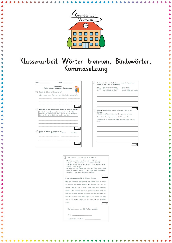 Klassenarbeit Worter Trennen Bindeworter Kommasetzung Unterrichtsmaterial Im Fach Deutsch Kommasetzung Bindeworter Worter