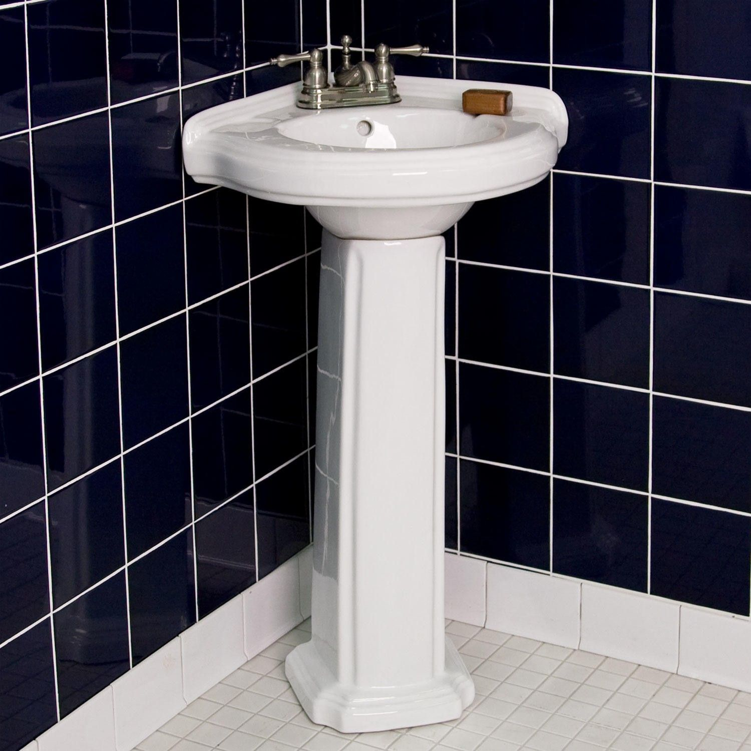 Gaston Corner Porcelain Pedestal Sink