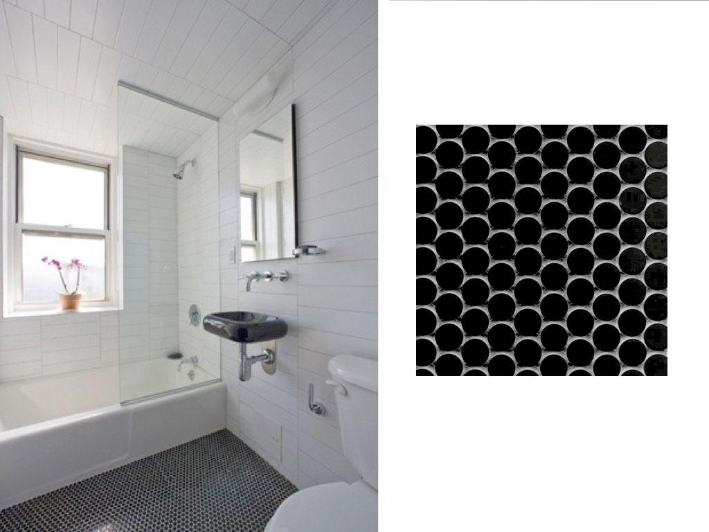 Black Penny Tile Bathroom Floor Bathroom Floor Tiles Penny Tiles Bathroom Floor Mosaic Floor Bathroom