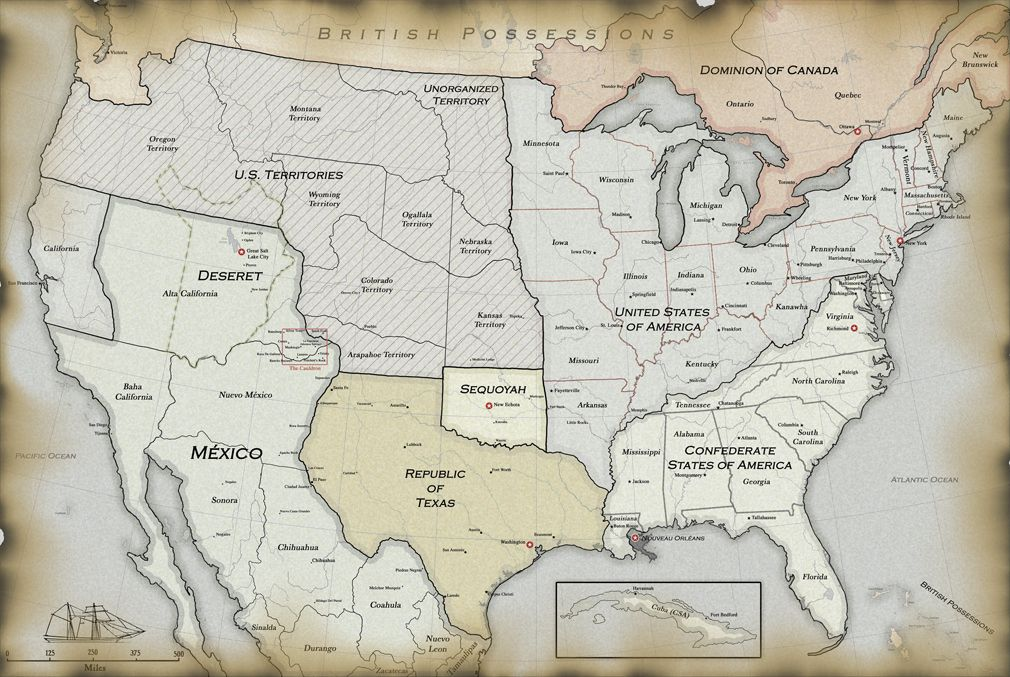 Deadlands California Map.Political Map From The Aces Eights Roleplaying Game By Kenzer Co