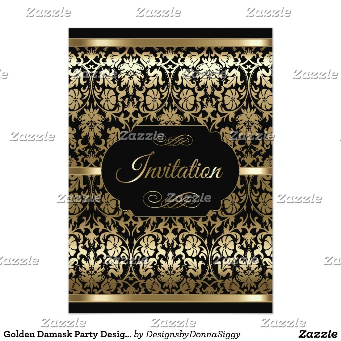 Pure Golden Damask Party Design - All Purpose Card