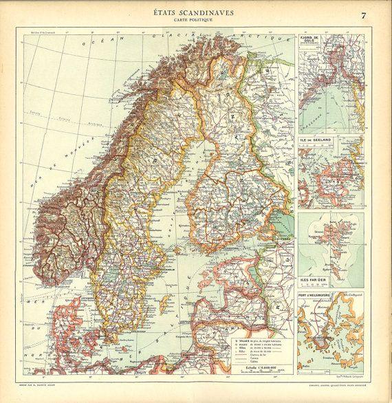 S Vintage Map Of Scandinavia Sweden Norway Denmark Finland - Sweden map states