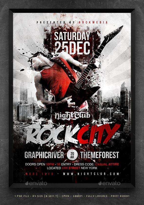 rock city concert flyer poster by fadeink rockcity concert flyer