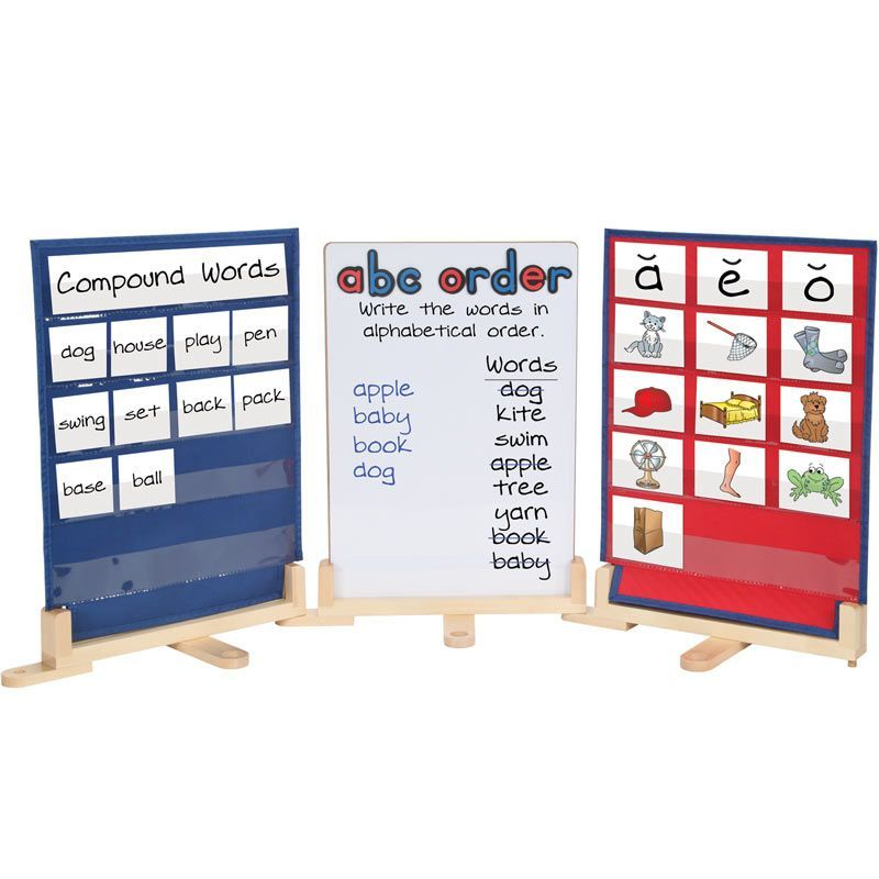 Modular Tabletop Kit With 2 Double Sided Pocket Charts And 1 Magnetic Dry Erase Board