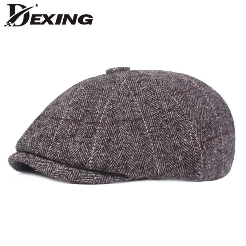00f12ce05 New Woolen Plaid Gatsby Newsboy Cap Men Autumn Winter Hat for Men ...
