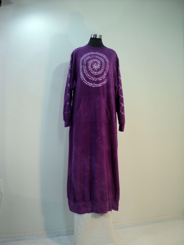 78c33830412 Plus size 3X shibori tie dyed red violet purple sweatshirt dress lounger  robe in bamboo cotton spandex fleece. by qualicumclothworks on Etsy