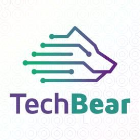 Tech Bear logo #logo #mark #sale #icon #animal #bear #tech #technology #connect #IT #computing #information #seo #network #software