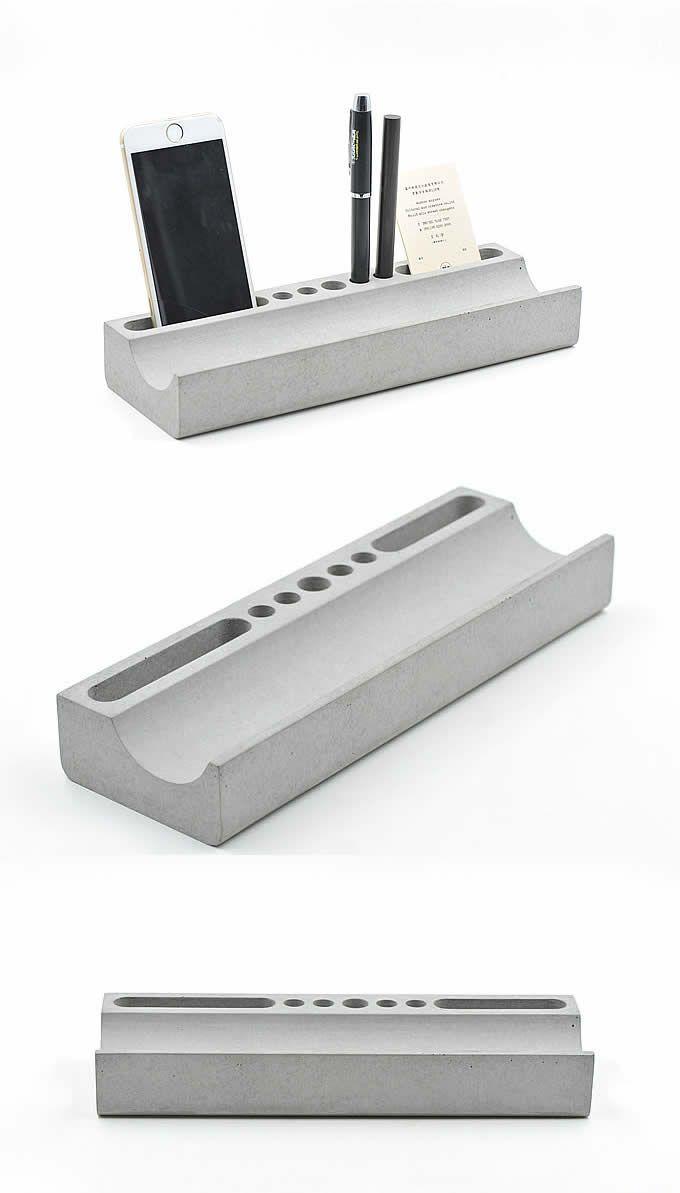 Phone Holder Pen Pencil Holder Concrete Desktop Organizer