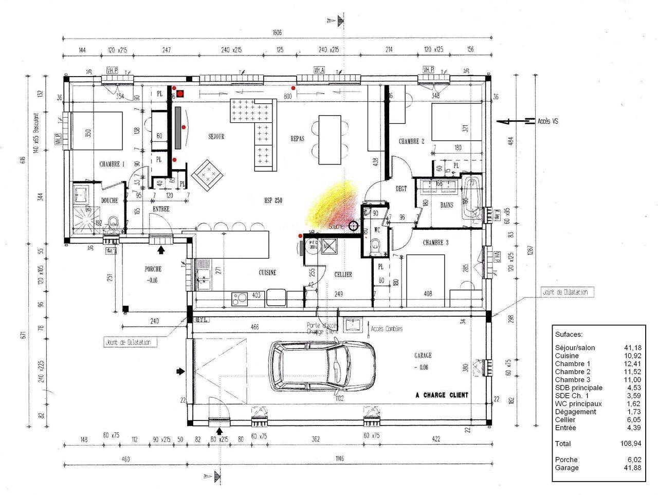 Votre avis sur mon plan plain pied 4 chambres 41 messages forumconstr - Plan de maison antillaise ...