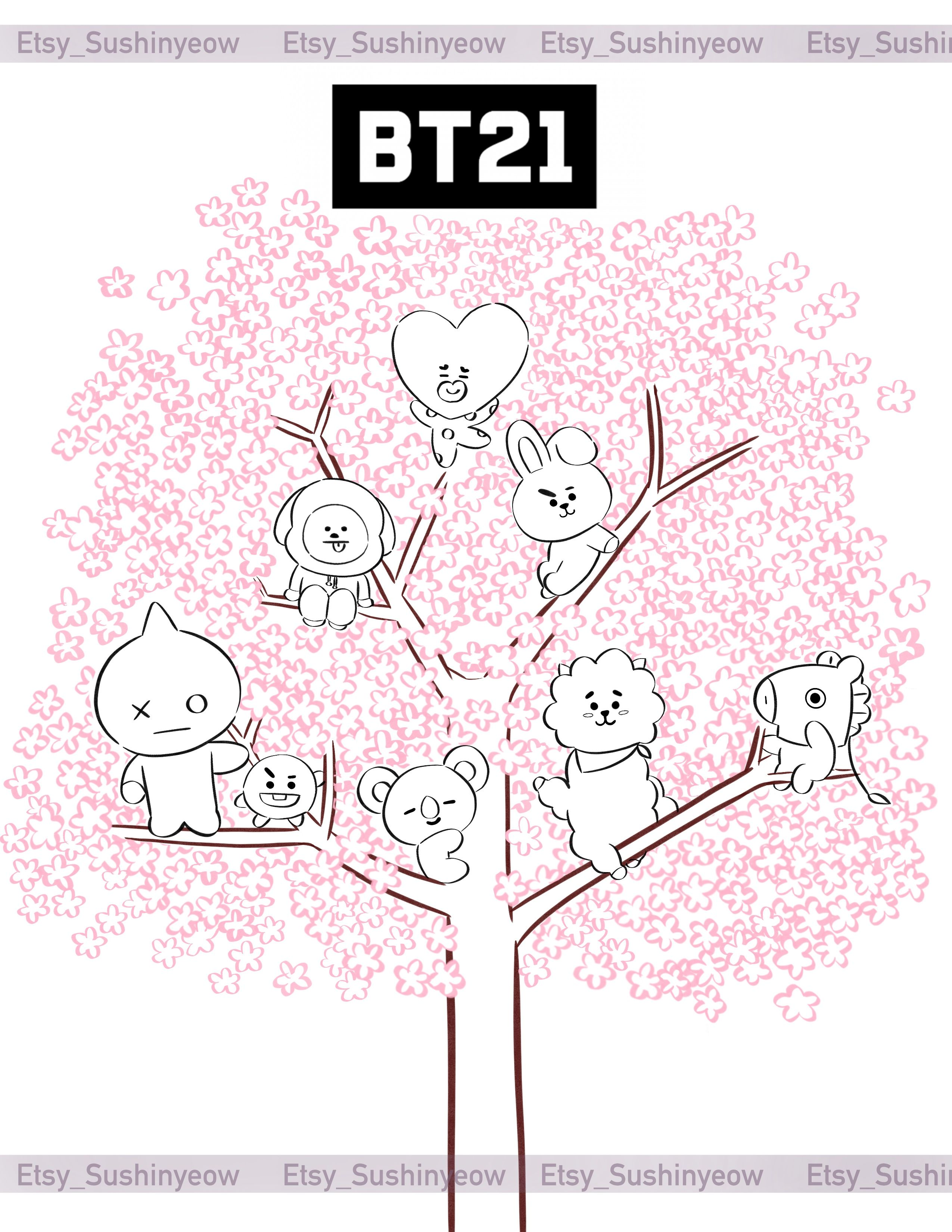 Bt21 Bts Printable Coloring Book Pagesbtscoloring Book Page Etsy Coloring Books Printable Coloring Book Cute Coloring Pages