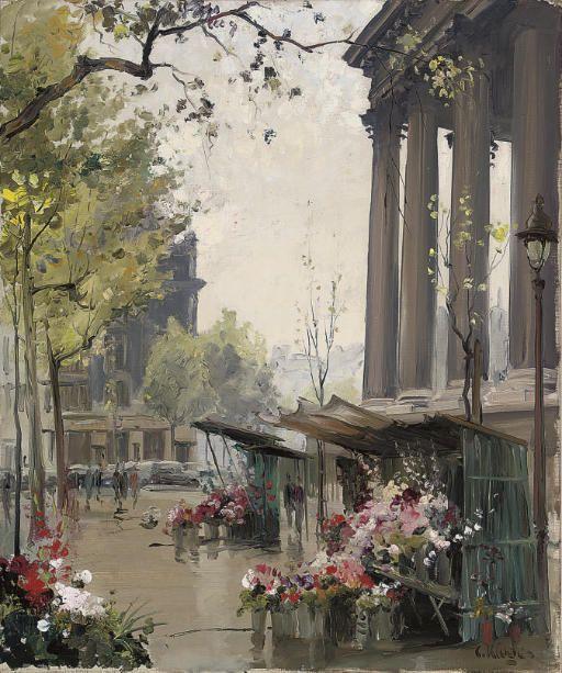 petitpoulailler:    poboh: Constantine Kluge (French; 1912-2003) ~Marché aux fleurs, Place de la Madeleine, Paris, France