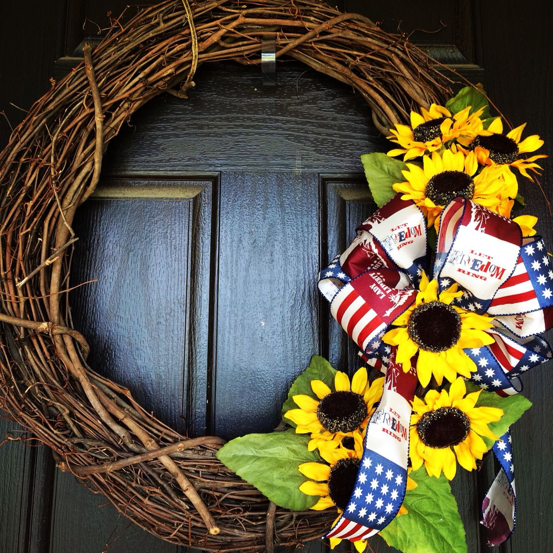 Sunflower wreath and good ole Red , White , & Blue !