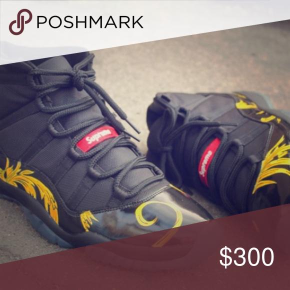 Custom Supreme Jordans 100 Authentic Worn Twice Air Jordan 11S Shoes Sneakers
