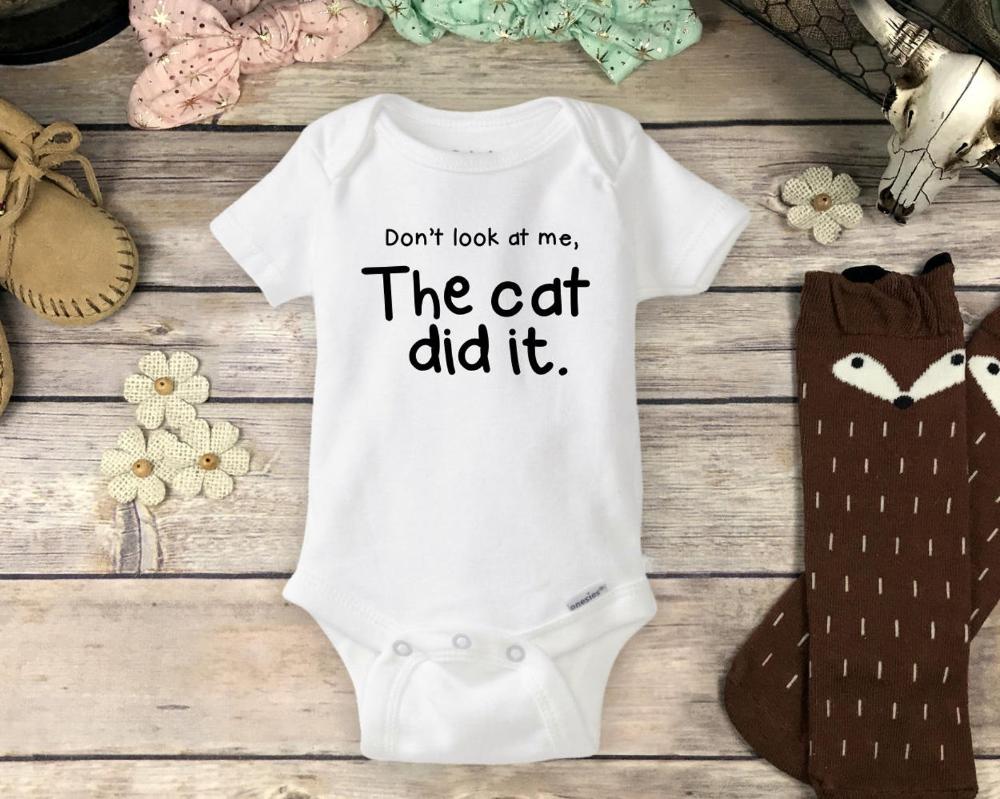 Dont Look At Me Cat Did It Gerber OnesieFunny Pet Owner Sibling Baby Romper