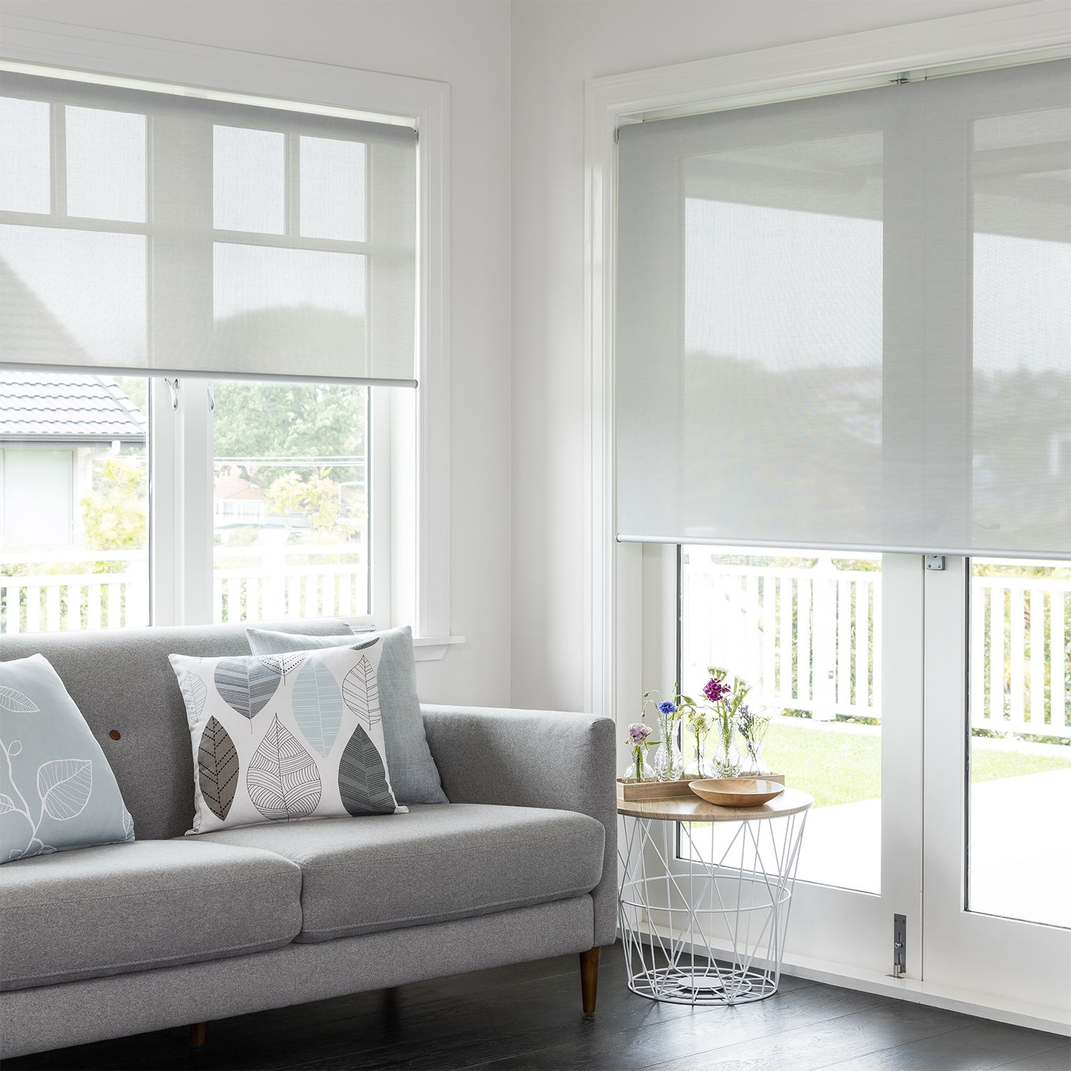 Madison White Grey Readymade Sunscreen Roller Blind Curtain Studio Buy Curtains Online Blinds Roller Blinds Modern Roller Blinds