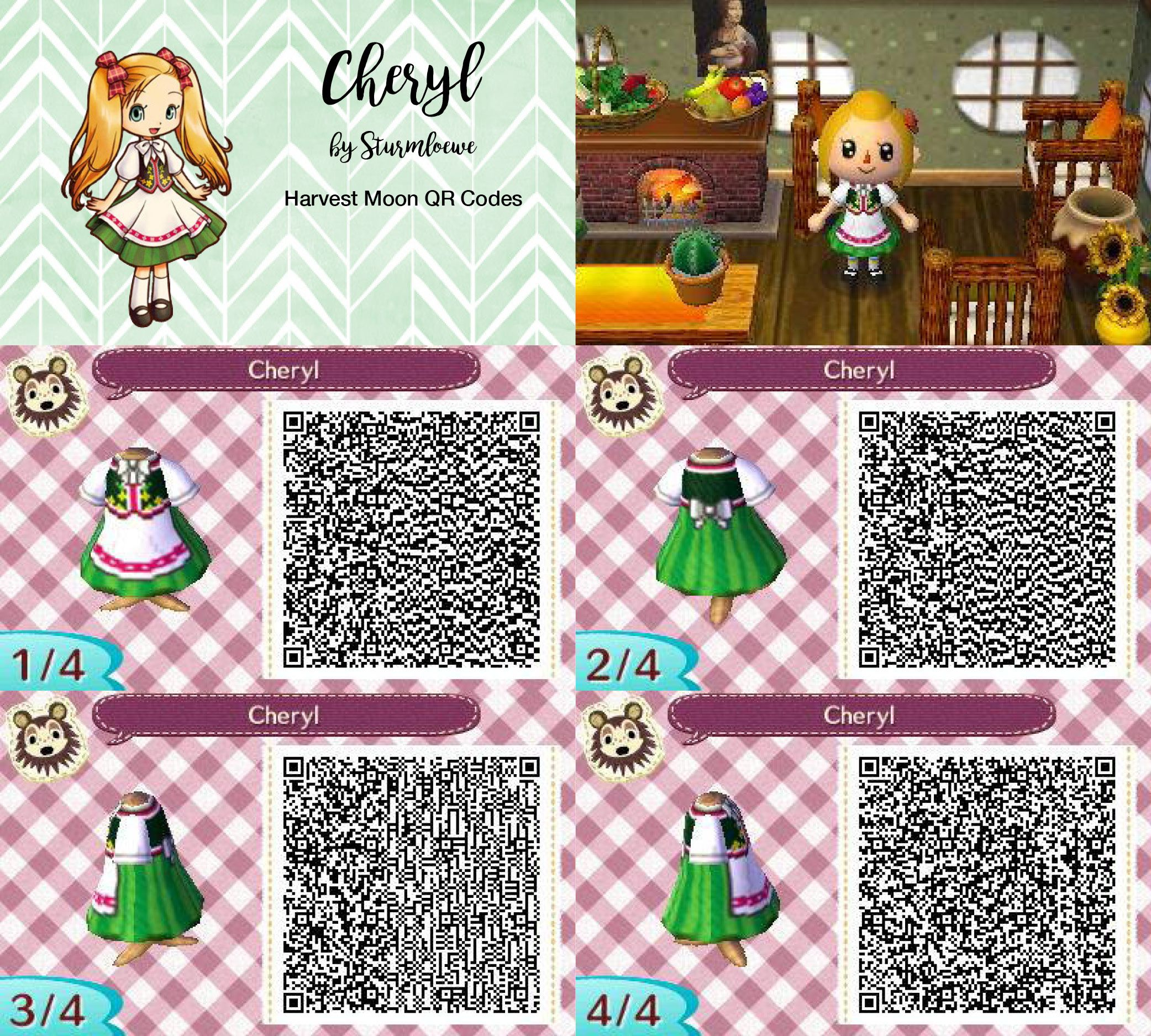 Harvest Moon Cheryls Cute Dress For Animal Crossing New Leaf Acnl