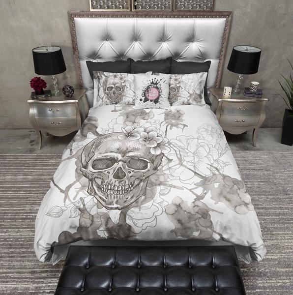 Beige On White Watercolor Skull Bedding Skull Bedding Duvet Bedding Sets Bedding Sets