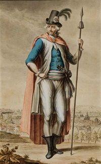 Révolutionnaire français portant la cocarde et le tricolore, une vue de Paris à larrière-plan by Philippe Chery
