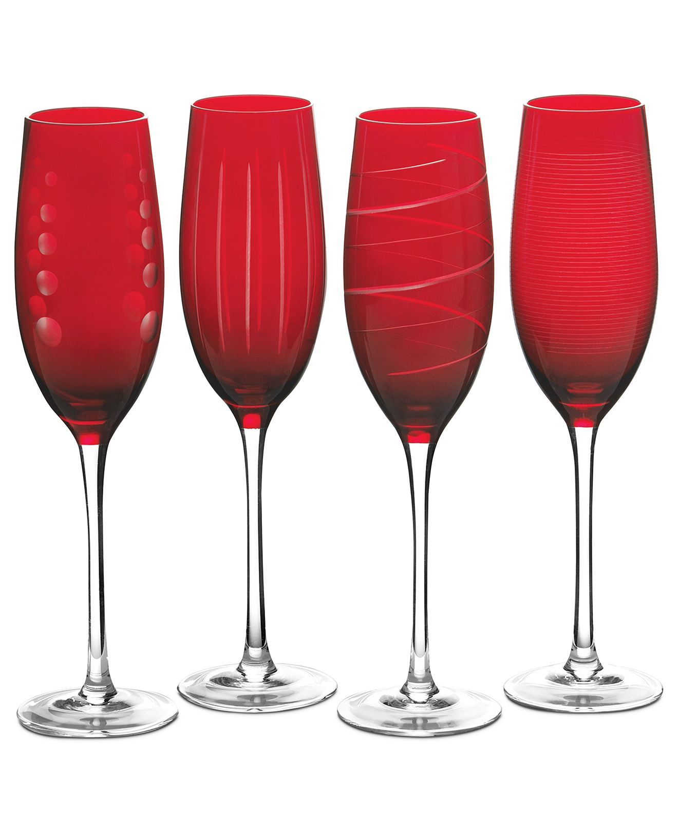 Mikasa Glassware Set Of 4 Cheers Ruby Flutes Macy S Glassware Flute Glass Glass