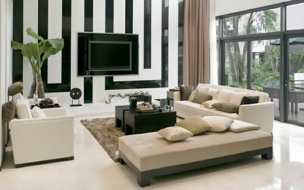 Gorgeous Elegant Drawing Room Interior Design Black And White Tv Wall Panel  Modern Khaki Sofa Set With Simple Dark Wood Coffee Table Drawing Room Inte