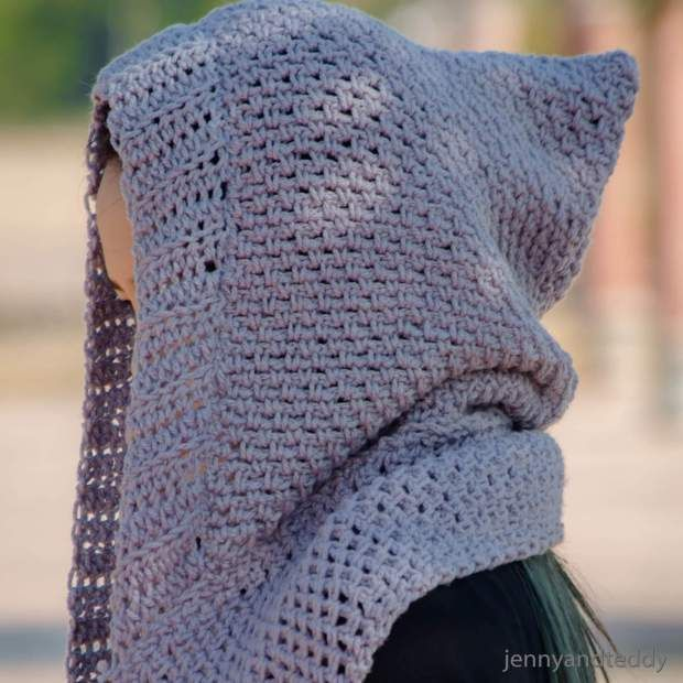 Scoodie Hooded Scarf With Pockets Free Crochet Pattern Crochet