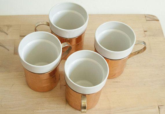 Coffee MugsSet Baker Ceramic Of Hart 4 Cups Copper Vintage wOPN8kX0n