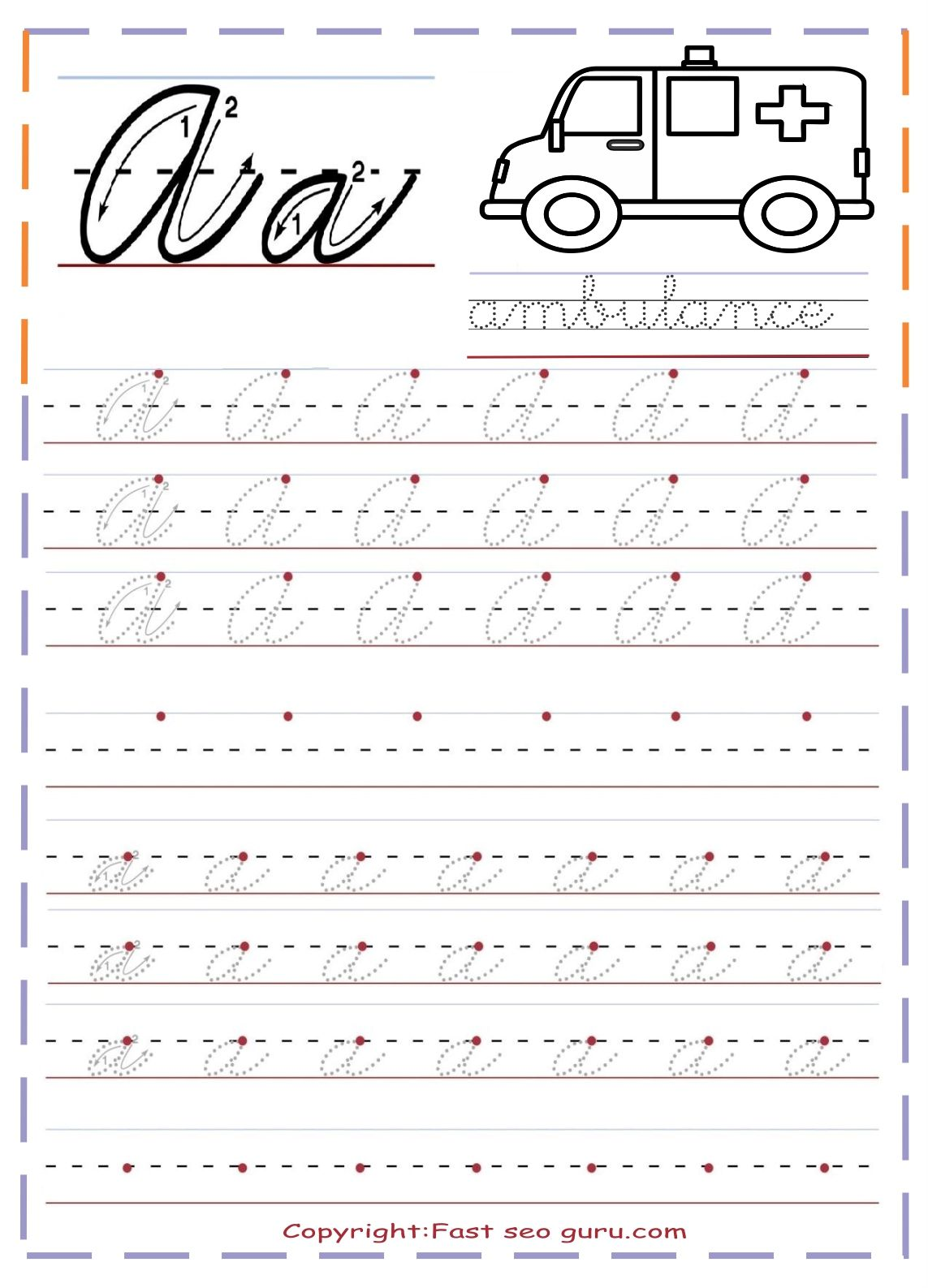 Printable Cursive Handwriting Practice Sheets Letter A In