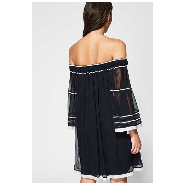 510672d1697 Witchery Gathered Yoryu Dress ($63) ❤ liked on Polyvore featuring dresses, off  shoulder sleeve dress, off the shoulder ruched dress, ruching dress, ...