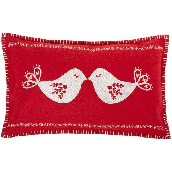 Linea Christmas kissing birds embroidered cushion, red ($19 - christmas clearance decor