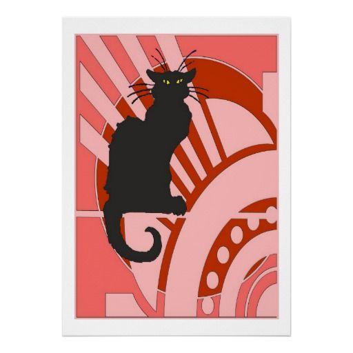 Black Cat Art Deco Poster Zazzle Co Uk Art Deco Posters Black Cat Art Art Deco Print