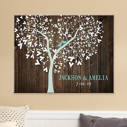 Sweet Lovebirds Canvas - Bird canvas, Wedding canvas, Diy wedding gifts, Rustic scene, Homemade wedding gifts, Personalized wedding gifts - A Personal Creations Exclusive! Perched contentedly in a charmingly rustic scene, this loving pair makes a perfect tribute to any couple who are wild about each other