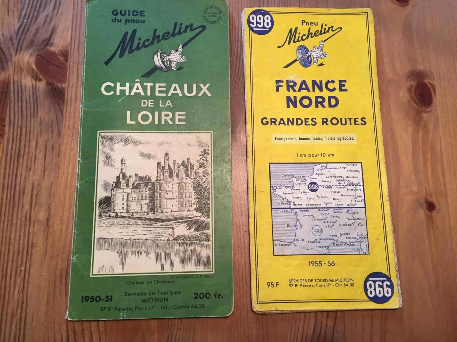 1950 Guide Michelin Chateaux De La Loire 1955 Carte Michelin