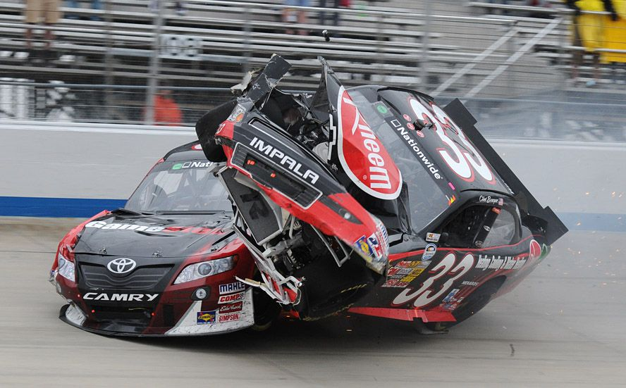 joey logano and clint bowyer crash coming to the finish of