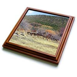 A farm implement with the words, Happy Fathers day to a special dad Trivet