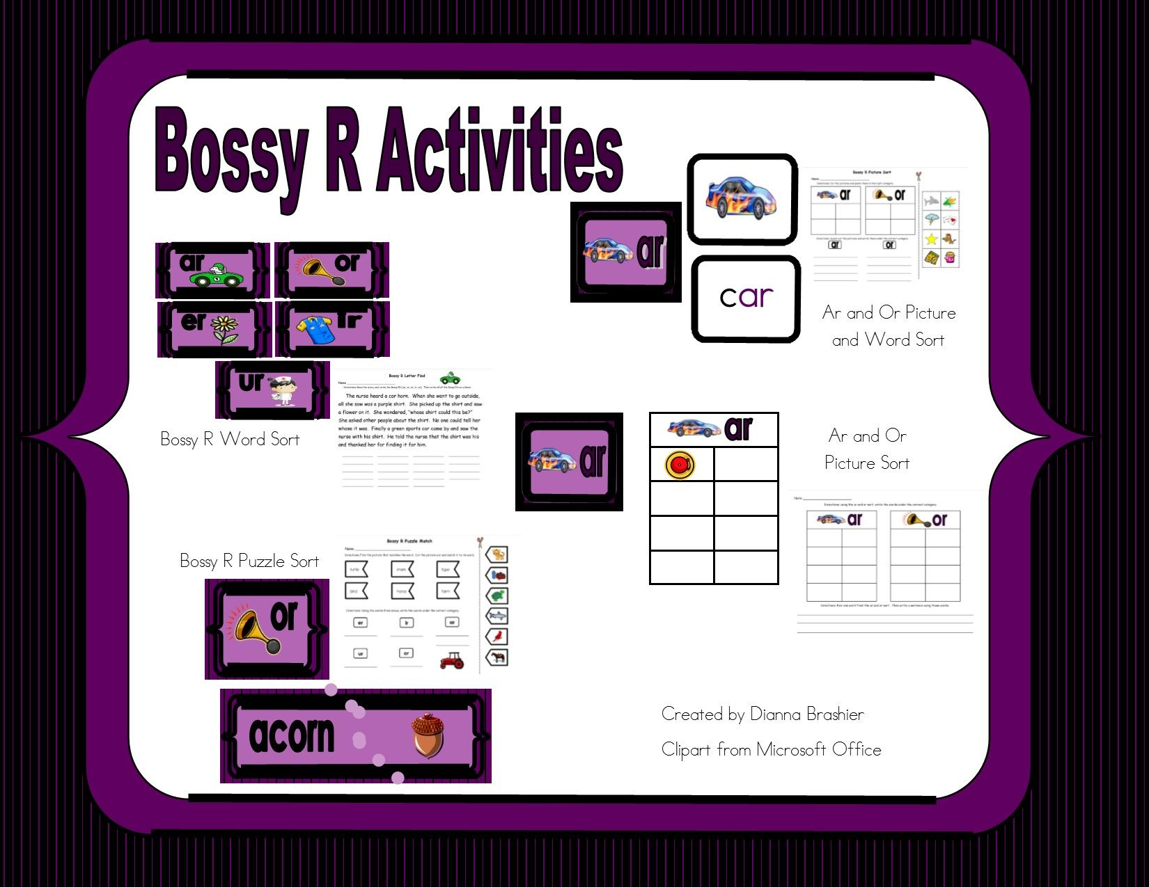 Bossy R Word Picture And Puzzle Sort
