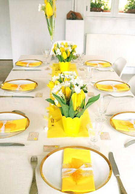 ma boutique deco table decoration de table jaune printemps une table qui reveille les papilles
