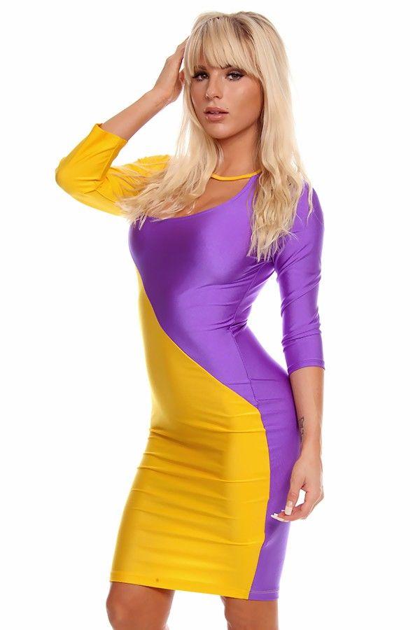 yellow purple dress#color block dress#sexy party dress#sexy mini ...