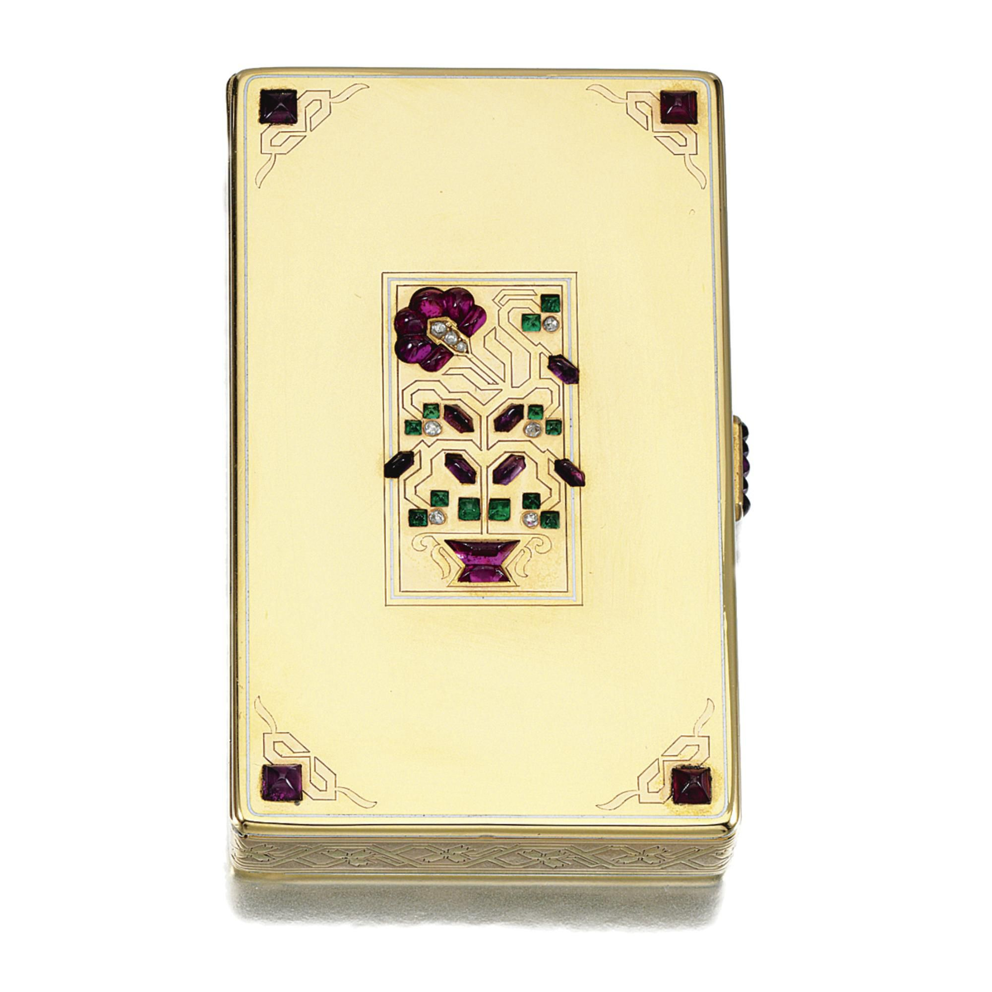 ENAMEL, GEM-SET AND DIAMOND VANITY CASE, CARTIER, 1920S The rectangular case pierced and inset to the centre and corners with cabochon amethysts, rubies and emeralds, highlighted with rose-cut diamonds, decorated with white enamel lines, engraved with a geometric giardinetti and floral motifs, opening to reveal two lidded compartments and a lipstick, inscribed 'Maeou from Freddie 30th Sept.1938', measuring approximately 82mm x 50mm x 13mm, signed Cartier