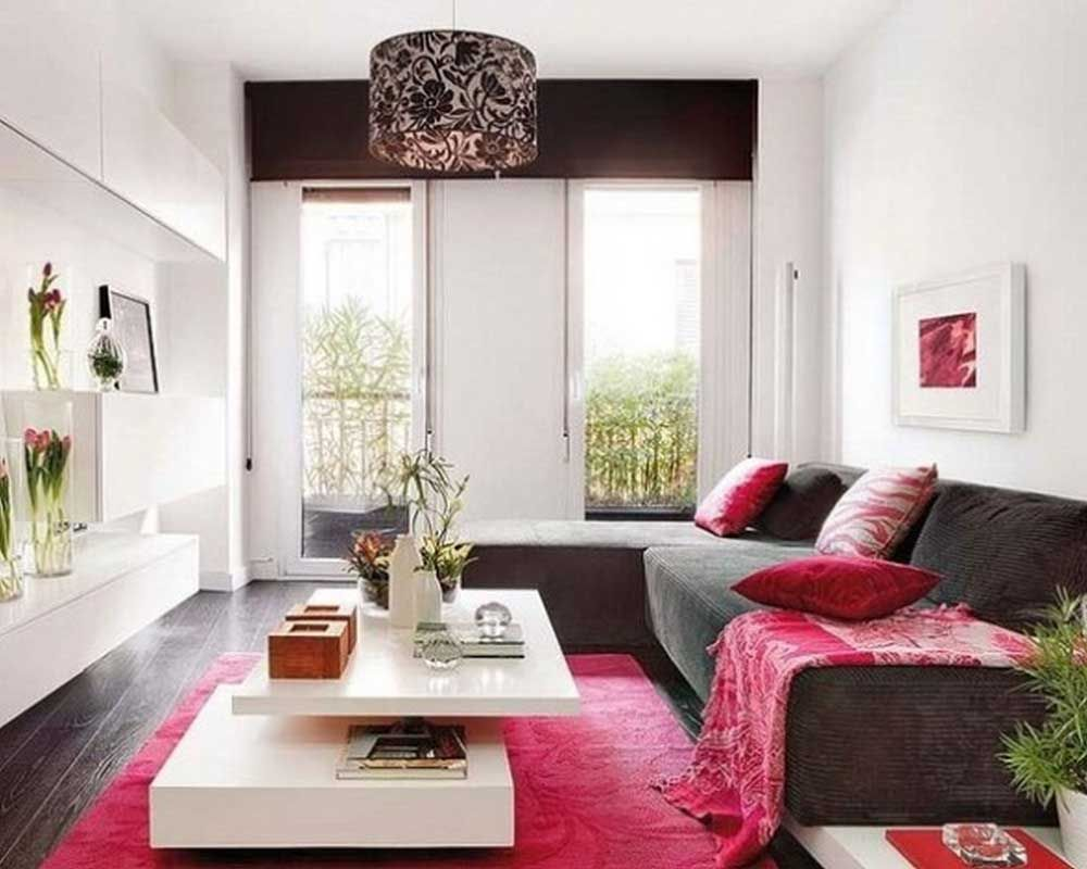 Rectangular Living Room Design Ideas with square cushions and black ...