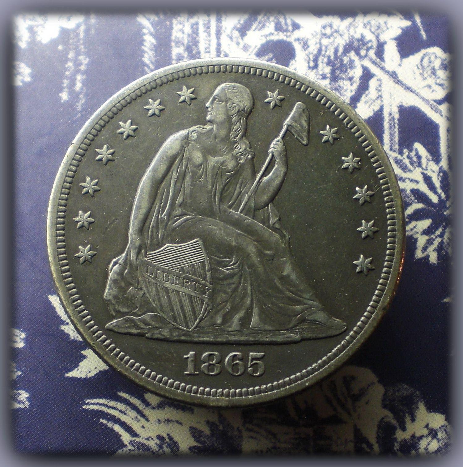 1865 Seated Liberty Dollar Coins Coins Half Dollar Rare Coins
