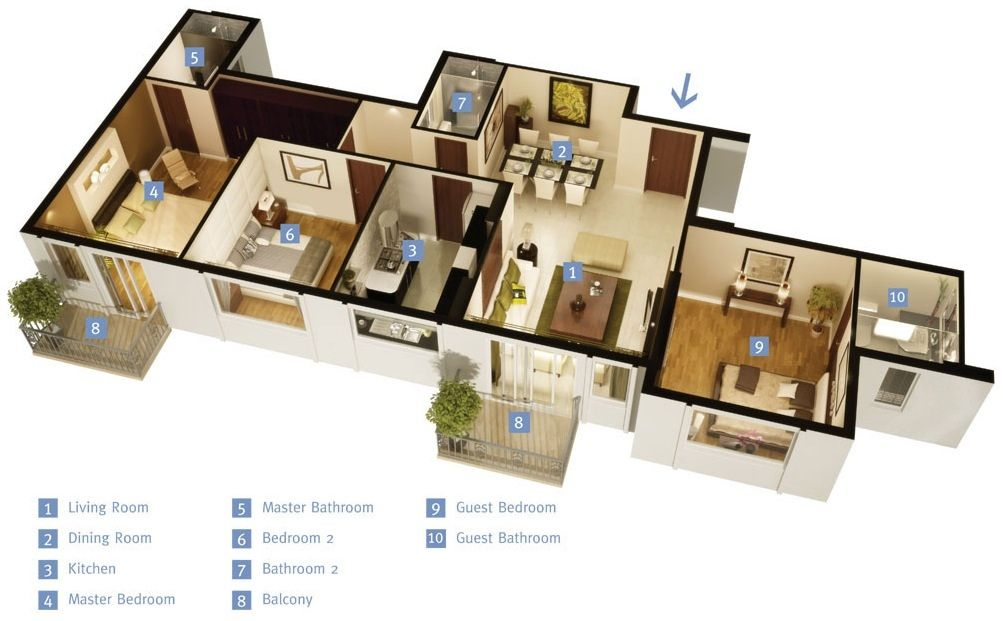 50 three 3 bedroom apartment house plans roommate for House plans with separate guest house