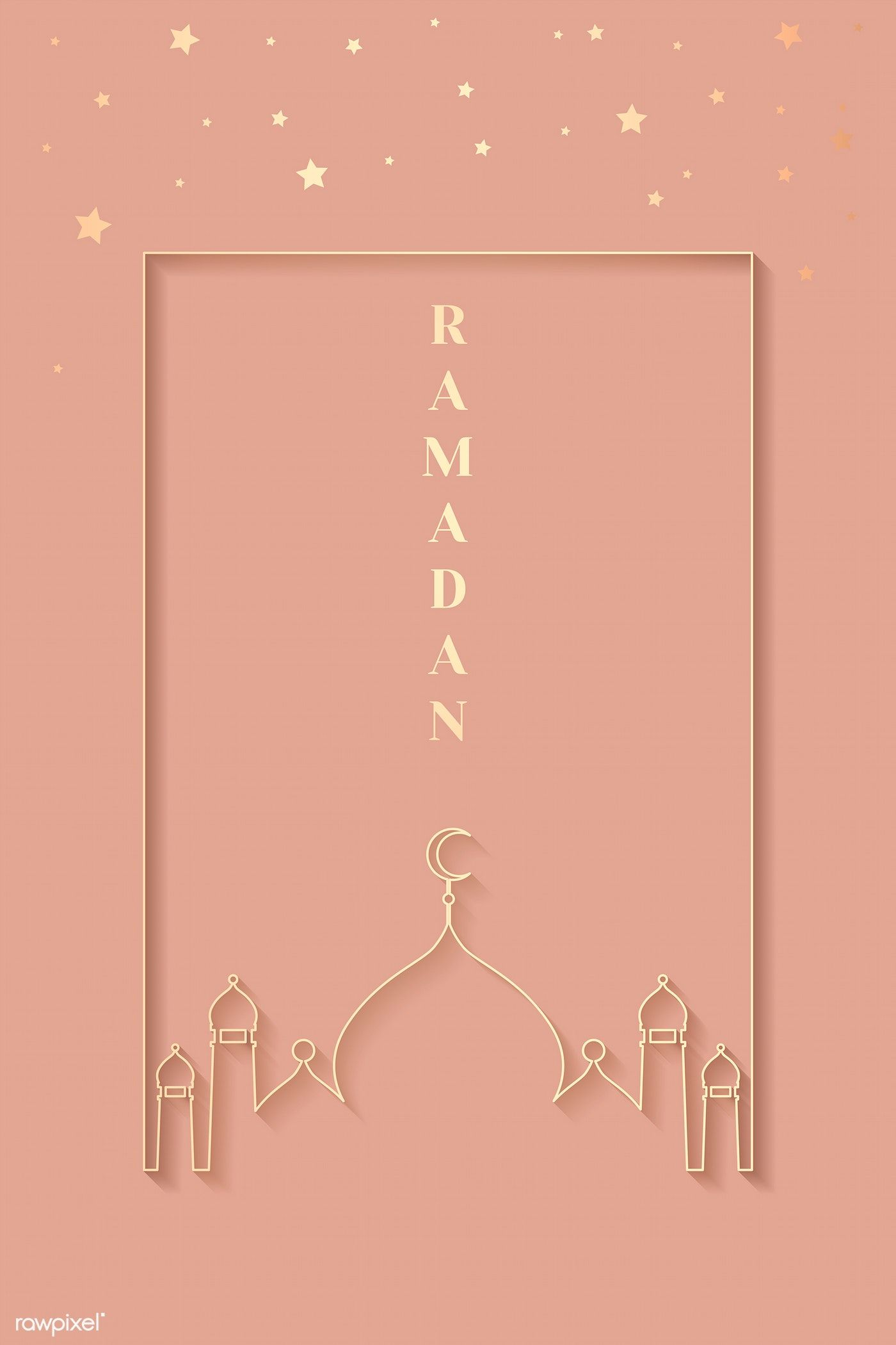 Ramadan Mubarak With Mosque Vector Free Image By Rawpixel Com