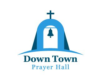 Down Town Logo design - Simple and unique design logo of bell and the cross in a very attractive style in blue colors. This design can be useful for church and prayer services, community and religious services etc. Price $250.00