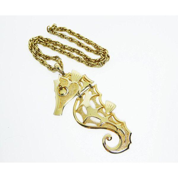 Vintage seahorse pendant necklace gold tone jointed sea horse and vintage seahorse pendant necklace gold tone jointed sea horse and 24 mozeypictures Choice Image