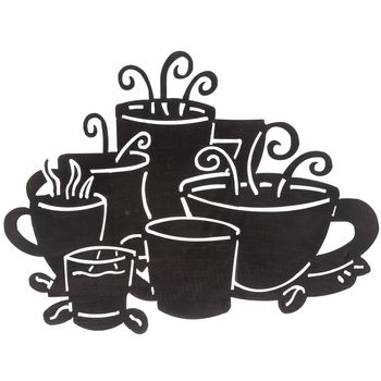 Black Metal Coffee Cups Wall Decor