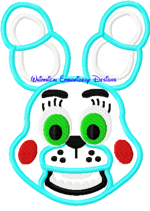 Bonnie Five Nights At Freddys Applique Design Instant Downlowad