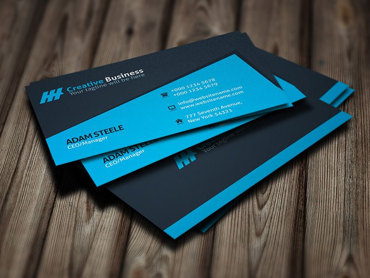 Blue Creative Business Card Template For PSDFolder My Work - Awesome business cards templates