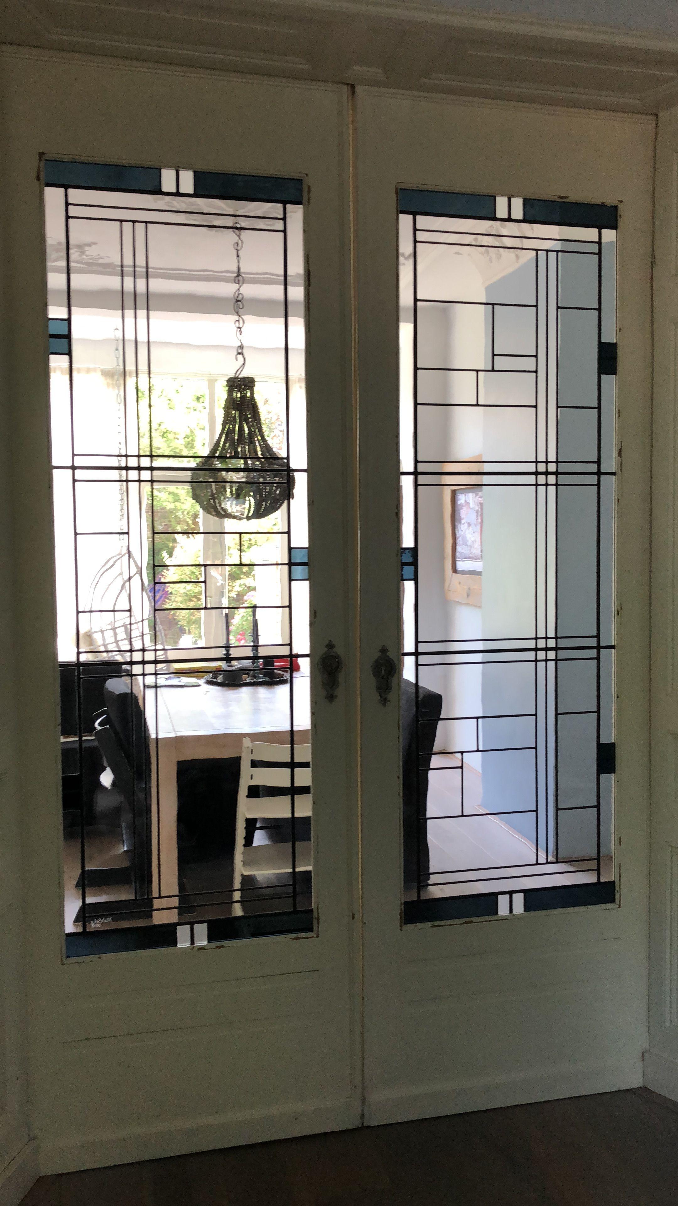 Moderne Glas In Lood Deuren.Modern Glas In Lood Schuifseparatie Stained Glass Modern