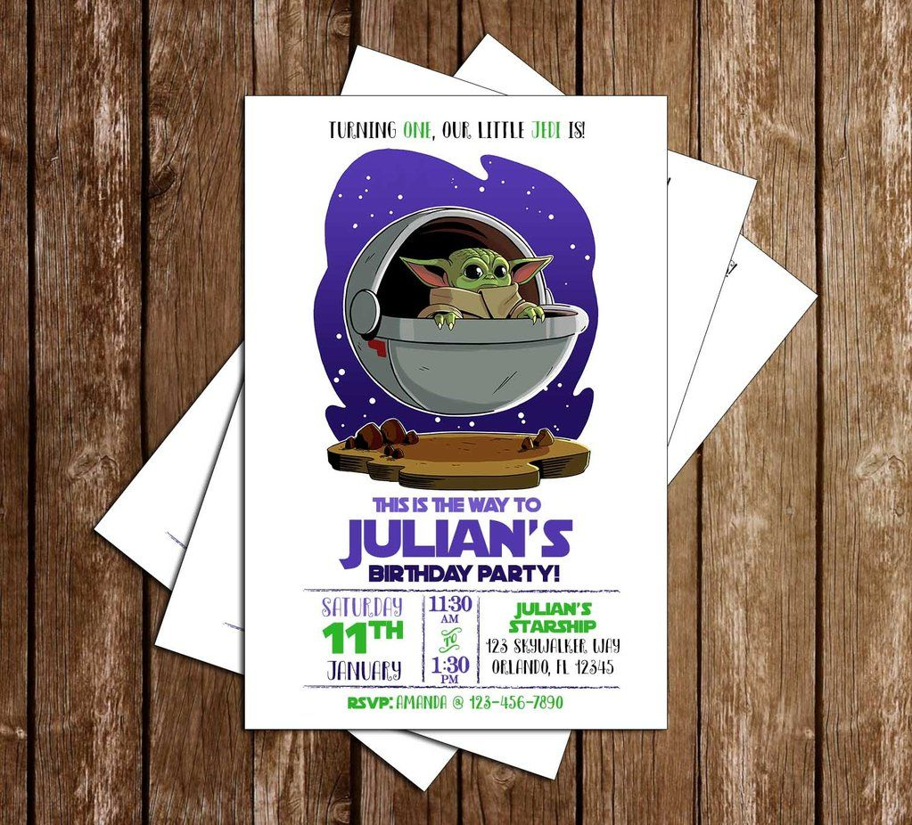 Star Wars The Mandalorian Baby Yoda Birthday Party Invitation In 2020 Yoda Party Birthday Party Invitations 1st Boy Birthday